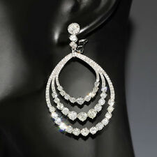 BIG Round Diamond Dangle Hoop Earrings in 14kt White Gold with 3 Rows 13.50ctw