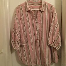 Maggie & Max, ladies top, size 2X????? PINK w/vertical stripes, EUC