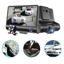 4'' 1080P HD Dual Wide Angel Lens Car DVR Dash Cam Night Vision Rearview Camera