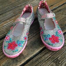 LELLI KELLY 33 EU 3 Pink Floral Heavily Beaded Mary Jane Tennis Shoes Sneakers