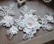 Bridal Pearl Lace Applique Corded Wedding Motif Ivory Lace Applique Trim 1 Piece