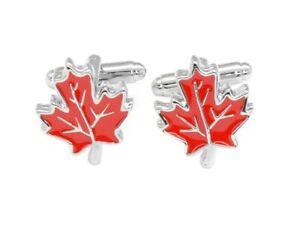 Silver-Tone Mens Cuff Links Red Maple Leaf Design Mens Cufflinks