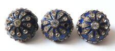 3 Boutons anciens en métal argenté + strass + émail button bouton 19e