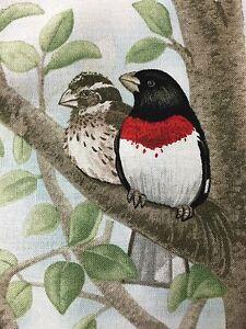 "Fabric Bird Quilt Square 4.75"" x 6"" Cotton 2 Birds on a Limb ELIZABETH Qty 1"