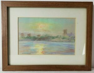 """1981 Pastel """"The Jersey Palisades - Sunset"""" Signed Charles Grossman (10"""" x 13"""")"""