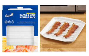 Plastic Microwave Bacon Rack Tray Healthy Crispy Cooking Defrosting Ovenware New