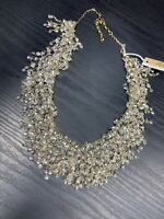 "Vintage  Ladies Statement Necklace  White Iridescent Sequins  Dangle 18"" Long"