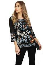 URBAN MIST Womens Black Multi Sequin Embellishment 3/4 Sleeve Oversized Top