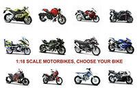Motorbike 1:18 Scale Die-cast Motorcycle Model Bike Toy, CHOOSE YOUR BIKE.
