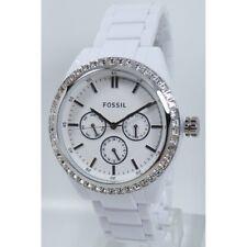 Fossil Women's Watch BQ1194 Glitz White Plastic Wrist Band Watch Brand Watch NEW