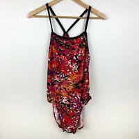 Nike Swim Women's Swimsuit Size 14 One Piece Orange Pink Open Back Bathing Suit