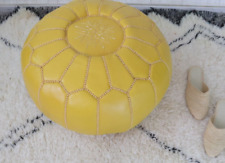 Moroccan leather pouf, chair ottoman, footstool, pouf en cuir.
