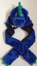 Baby Boys Girls Blue Dinosaur Hat / Scarf and Gloves Set Age 1-2 / 12-24 months