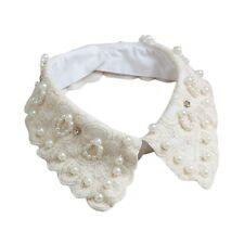 Women Faux Pearl Lace False Collar Detachable Fake Necklace Shirt Accessories