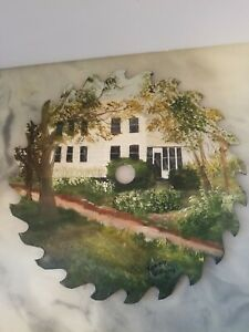 Beautiful Hand Painted Saw Blade White Farmhouse Dirt Road Signed