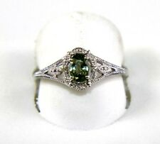 Fine Oval Cut Green Sapphire Solitaire Ring w/Diamond Halo 14K Yellow Gold .63Ct