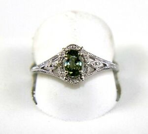 Oval Green Sapphire & Diamond Halo Solitaire Ring 14K White Gold .63Ct