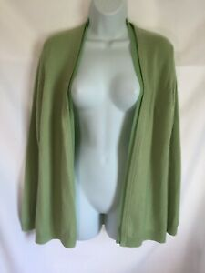 Talbots Green 100% CASHMERE Open Cardigan Sweater Size Medium