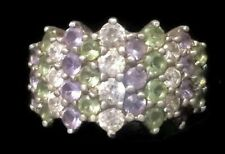 Vintage Pastel Stones Cz Sterling Silver Ring Pinky Band Size 5.75 Girls