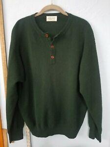 Benetton Italian Wool Hunter Green 3 Button Sweater Large