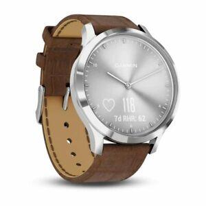 Garmin Vivomove HR Premium Silver SS W/ Brown Embossed Italian Band Smart Watch