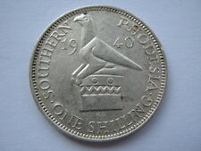Southern Rhodesia 1940 silver Shilling EF multiple contacts scratches