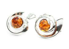 SilverAmber Jewellery Earings GL009 925 Sterling Silver Cognac Amber Stones