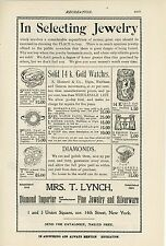 1899 Mrs. T. Lynch Jewelry Ad New York City Jeweler Diamond Importer Silverware