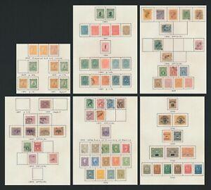PARAGUAY STAMPS 1879-1900 INC LION SURCH 1881 Sc #17/18, GOOD OFFICIALS, 6 PAGES