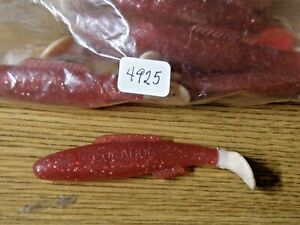 """Cocahoe 3"""" red w/ white paddle tail 10 pack USA"""