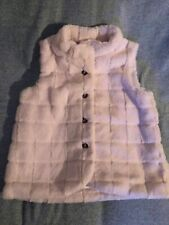 Hanna Andersson 150 White / Off White Fuzzy Faux Fur Vest Euc Holiday Christmas!