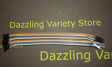 2x 20 Rainbow Cable Wire Male 2 Female Dupont PCB Computer DIY Connector 20cm UK
