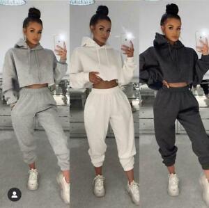 Womens Casual Tracksuit Oversize Crop Hoodie Joggers Sweat Pants Lounge Wear Set