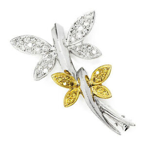 Dragonfly Brooch Pin with White & Fancy Yellow Diamonds 18K .21ctw