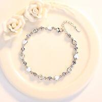 Valentine Xmas ouvert coeur 925 Sterling argent Bracelet Charm bijoux femmes