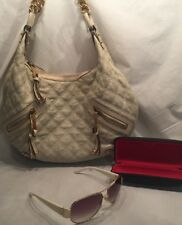 Marc Jacobs White Quilted Hobo Hand Shoulder Bag Purse Gold Chain & Sunglasses
