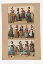VINTAGE FASHION COSTUME PRINT ~ SWITZERLAND 1880s REGIONAL ZURICH BASEL