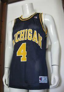 40 Champion Michigan Wolverines #4 Chris Webber Basketball Jersey Fab 5 VTG NWT