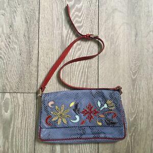 Francesco Biasia Vintage 90s Purple Snakeskin Baguette Bag