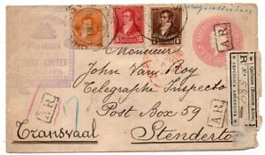 1898 ARGENTINA TO SOUTH AFRICA REGISTERED AR COVER, GREAT FRANKING !!