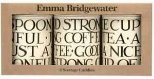 Emma Bridgewater Black Toast Set of 3 Caddies Tea Coffee Sugar Caddies