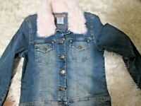 Paris Blues Denim Jacket with Pink Faux Fur Collar Size M
