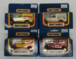 "(4) Matchbox Ford Model ""A"" MB-38 (various decals) 1:64 MIB"