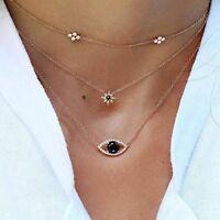 Women's Jewelry Multilayer Rhinestone Eye Star Pendant Chain Choker Necklaces