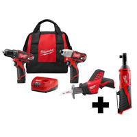 Cordless Drill Impact Driver Combo Kit Free M12 3/8 in. Ratchet 12-Volt (3-Tool)
