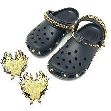 CROCS x Vivienne Tam UNISEX Black Studded Chain-Link Clog Shoes Size US 9
