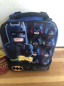 Lego Batman Dual Compartment Lunch Bag Detachable Cape-Justice Wears Many Faces