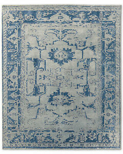 Restoration Hardware Arte Grey / Ocean Blue Hand Knotted Rug 6x9 Wool $4189