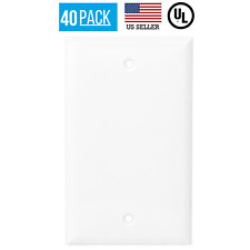 40 PACK 1-GANG BLANK OUTLET NO DEVICE COVER WALL PLATE, WHITE
