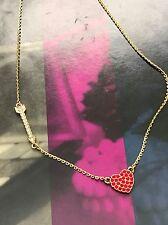 Kate Spade NY Gold Tone Chain Crystal Arrow Heart Love List Necklace WBRUB216